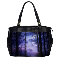 Moonlit A Forest At Night With A Full Moon Office Handbags (2 Sides)