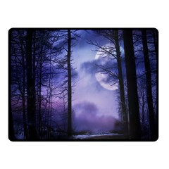 Moonlit A Forest At Night With A Full Moon Fleece Blanket (small) by Simbadda