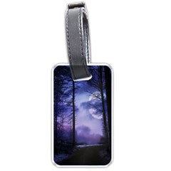 Moonlit A Forest At Night With A Full Moon Luggage Tags (one Side)  by Simbadda