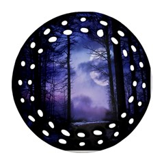 Moonlit A Forest At Night With A Full Moon Round Filigree Ornament (two Sides)