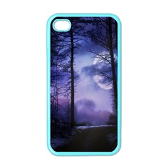 Moonlit A Forest At Night With A Full Moon Apple Iphone 4 Case (color)