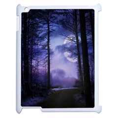 Moonlit A Forest At Night With A Full Moon Apple Ipad 2 Case (white)