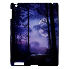 Moonlit A Forest At Night With A Full Moon Apple Ipad 3/4 Hardshell Case by Simbadda