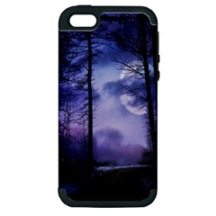 Moonlit A Forest At Night With A Full Moon Apple Iphone 5 Hardshell Case (pc+silicone) by Simbadda