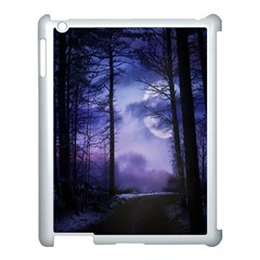 Moonlit A Forest At Night With A Full Moon Apple Ipad 3/4 Case (white) by Simbadda
