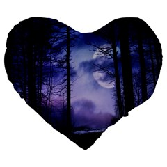 Moonlit A Forest At Night With A Full Moon Large 19  Premium Heart Shape Cushions by Simbadda