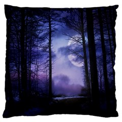 Moonlit A Forest At Night With A Full Moon Large Flano Cushion Case (two Sides)