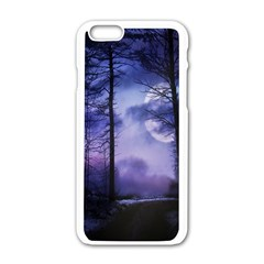 Moonlit A Forest At Night With A Full Moon Apple Iphone 6/6s White Enamel Case by Simbadda