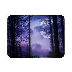 Moonlit A Forest At Night With A Full Moon Double Sided Flano Blanket (mini)
