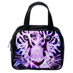 Fractal Wire White Tiger Classic Handbags (one Side) by Simbadda