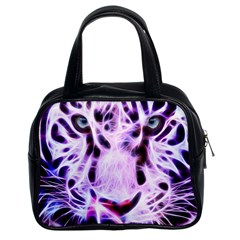 Fractal Wire White Tiger Classic Handbags (2 Sides) by Simbadda