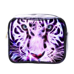Fractal Wire White Tiger Mini Toiletries Bags by Simbadda