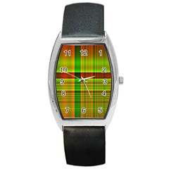 Multicoloured Background Pattern Barrel Style Metal Watch by Simbadda