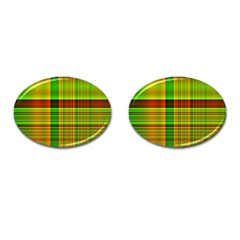 Multicoloured Background Pattern Cufflinks (oval) by Simbadda