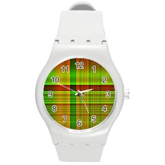 Multicoloured Background Pattern Round Plastic Sport Watch (m) by Simbadda