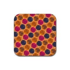 Colorful Trees Background Pattern Rubber Coaster (square)
