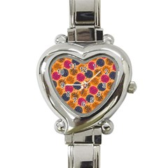 Colorful Trees Background Pattern Heart Italian Charm Watch by Simbadda