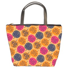 Colorful Trees Background Pattern Bucket Bags by Simbadda