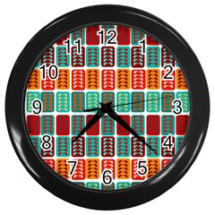 Bricks Abstract Seamless Pattern Wall Clocks (black) by Simbadda