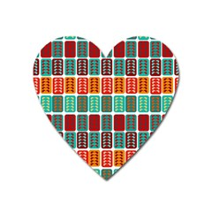 Bricks Abstract Seamless Pattern Heart Magnet by Simbadda