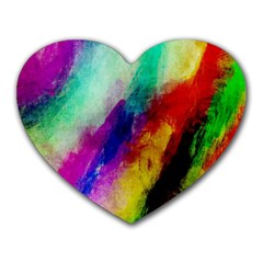 Colorful Abstract Paint Splats Background Heart Mousepads by Simbadda