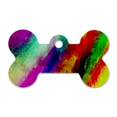 Colorful Abstract Paint Splats Background Dog Tag Bone (two Sides) by Simbadda