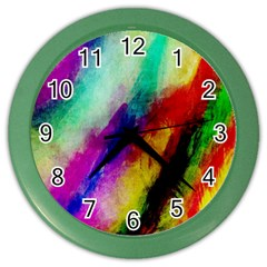 Colorful Abstract Paint Splats Background Color Wall Clocks by Simbadda