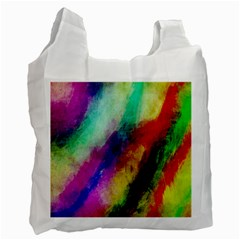 Colorful Abstract Paint Splats Background Recycle Bag (one Side) by Simbadda