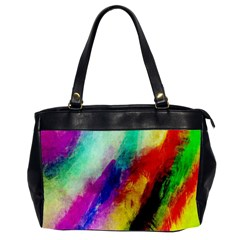 Colorful Abstract Paint Splats Background Office Handbags (2 Sides)