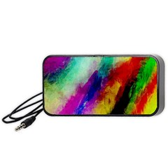 Colorful Abstract Paint Splats Background Portable Speaker (black) by Simbadda