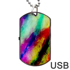 Colorful Abstract Paint Splats Background Dog Tag Usb Flash (two Sides) by Simbadda