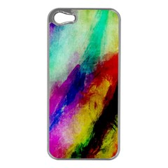 Colorful Abstract Paint Splats Background Apple Iphone 5 Case (silver) by Simbadda