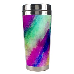 Colorful Abstract Paint Splats Background Stainless Steel Travel Tumblers by Simbadda