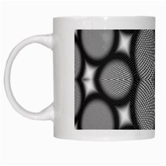 Mirror Of Black And White Fractal Texture White Mugs by Simbadda