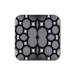 Mirror Of Black And White Fractal Texture Rubber Square Coaster (4 Pack)  by Simbadda