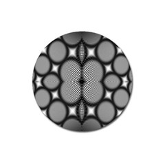 Mirror Of Black And White Fractal Texture Magnet 3  (round)