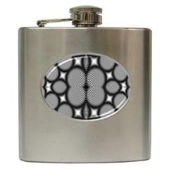 Mirror Of Black And White Fractal Texture Hip Flask (6 Oz) by Simbadda