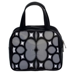 Mirror Of Black And White Fractal Texture Classic Handbags (2 Sides) by Simbadda