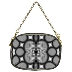 Mirror Of Black And White Fractal Texture Chain Purses (one Side)