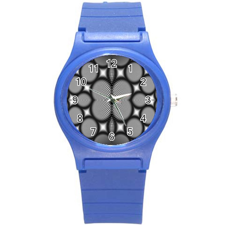 Mirror Of Black And White Fractal Texture Round Plastic Sport Watch (S)