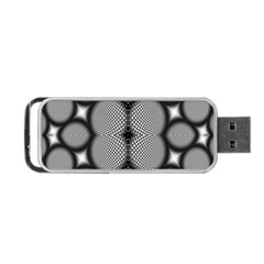 Mirror Of Black And White Fractal Texture Portable Usb Flash (two Sides) by Simbadda