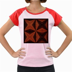Fractal Pattern Of Fire Color Women s Cap Sleeve T Shirt by Simbadda