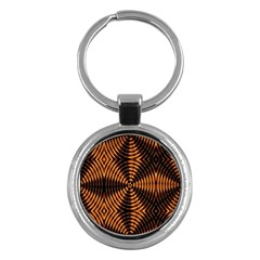 Fractal Pattern Of Fire Color Key Chains (round)  by Simbadda