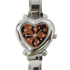 Fractal Pattern Of Fire Color Heart Italian Charm Watch by Simbadda