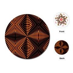 Fractal Pattern Of Fire Color Playing Cards (round)  by Simbadda