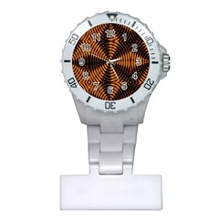 Fractal Pattern Of Fire Color Plastic Nurses Watch by Simbadda