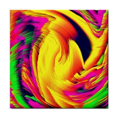 Stormy Yellow Wave Abstract Paintwork Tile Coasters