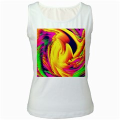 Stormy Yellow Wave Abstract Paintwork Women s White Tank Top