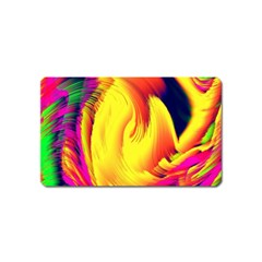 Stormy Yellow Wave Abstract Paintwork Magnet (name Card) by Simbadda