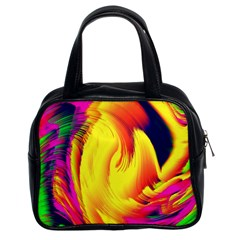 Stormy Yellow Wave Abstract Paintwork Classic Handbags (2 Sides) by Simbadda